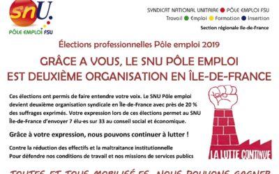 Résultats des élections professionnelles de Pôle emploi Novembre 2019