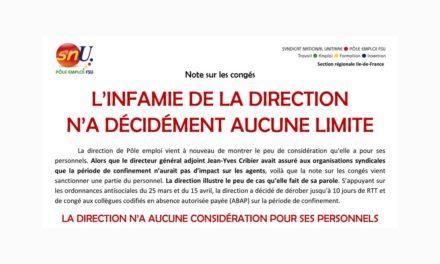 L'INFAMIE DE LA DIRECTION N'A DÉCIDÉMENT AUCUNE LIMITE