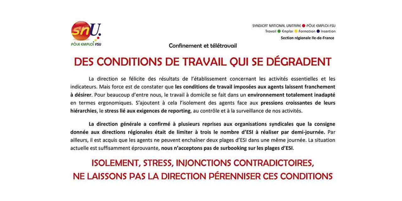 STRESS, ISOLEMENT – DES CONDITIONS DE TRAVAIL QUI SE DÉGRADENT