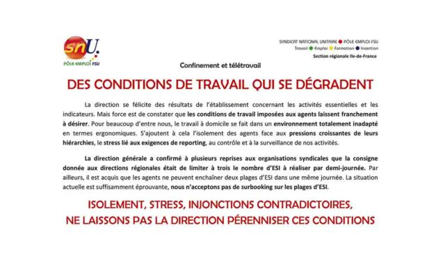 STRESS, ISOLEMENT – DES CONDITIONS DE TRAVAIL QUI SE DÉGRADENT