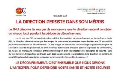 CSE DU 30 AVRIL – LA DIRECTION PERSISTE DANS SON MÉPRIS