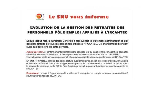 Évolution de la gestion des retraites des personnels Pôle emploi affilies à l'IRCANTEC