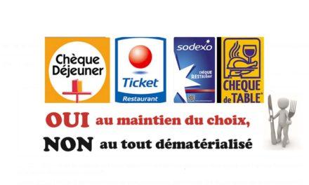 """""""chèques resto' : OUI au maintien du choix, NON au tout dématérialisé"""