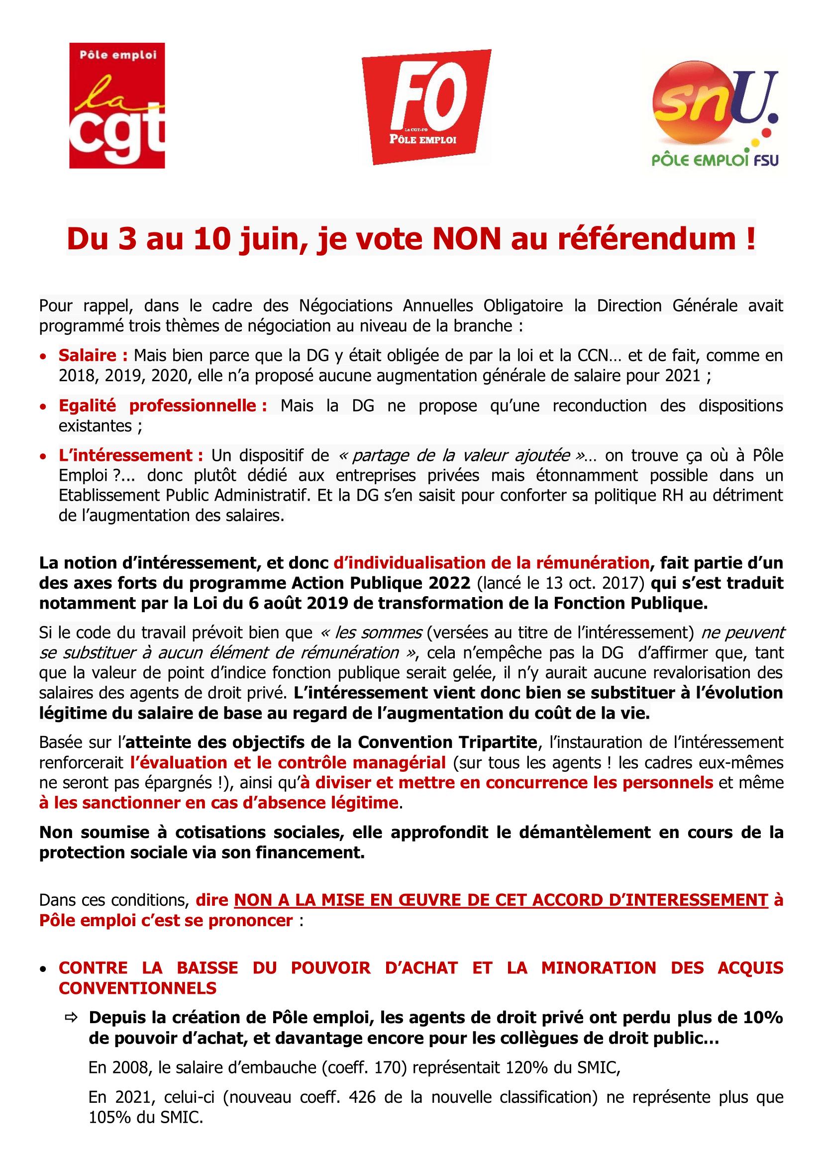 Du 3 au 10 juin je vote non !  Pour exiger l'augmentation générale de nos salaires, pour l'aboutissement de nos légitimes revendications : votons massivement non !